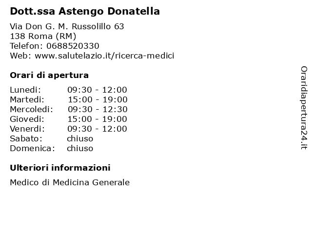 Dr.ssa Astengo Donatella a Roma (RM): indirizzo e orari di apertura