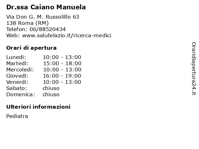 Dr.ssa Caiano Manuela a Roma (RM): indirizzo e orari di apertura