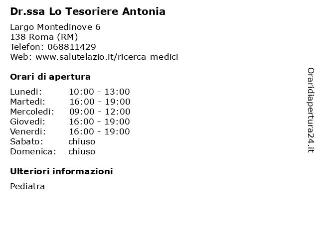 Dr.ssa Lo Tesoriere Antonia a Roma (RM): indirizzo e orari di apertura