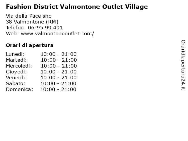 Fashion District Valmontone Outlet Village a Roma (RM): indirizzo e orari di apertura