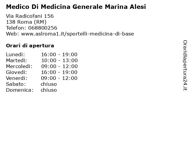 Medico Di Medicina Generale Marina Alesi a Roma (RM): indirizzo e orari di apertura