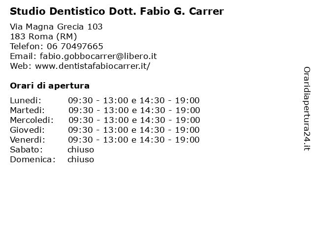 Studio Dentistico Dott. Fabio G. Carrer a Roma (RM): indirizzo e orari di apertura