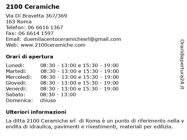 2100 Ceramiche Srl Roma.ᐅ Orari 2100 Ceramiche Via Di Bravetta 367 369 00163 Roma