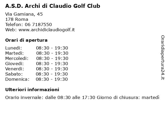 A.S.D. Archi di Claudio Golf Club a Roma: indirizzo e orari di apertura