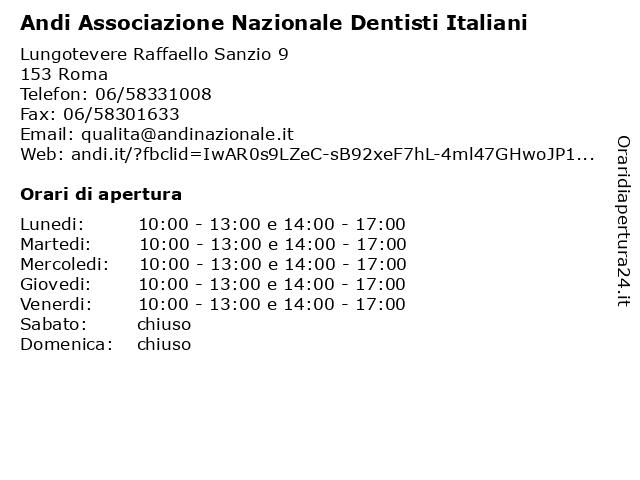 Andi Associazione Nazionale Dentisti Italiani a Roma: indirizzo e orari di apertura