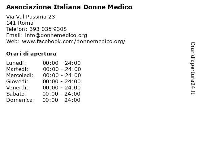 Associazione Italiana Donne Medico a Roma: indirizzo e orari di apertura