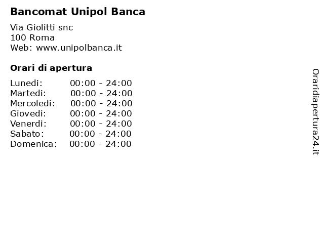 Bancomat Unipol Banca a Roma: indirizzo e orari di apertura