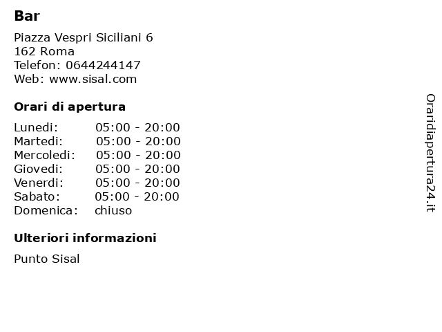 Bar a Roma: indirizzo e orari di apertura