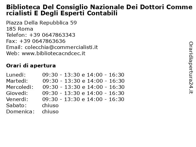 Biblioteca Del Consiglio Nazionale Dei Dottori Commercialisti E Degli Esperti Contabili a Roma: indirizzo e orari di apertura