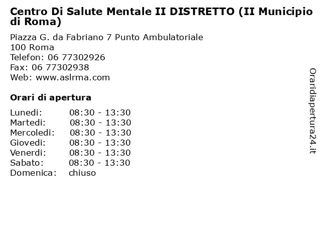 Centro Di Salute Mentale II DISTRETTO (II Municipio di Roma) a Roma: indirizzo e orari di apertura