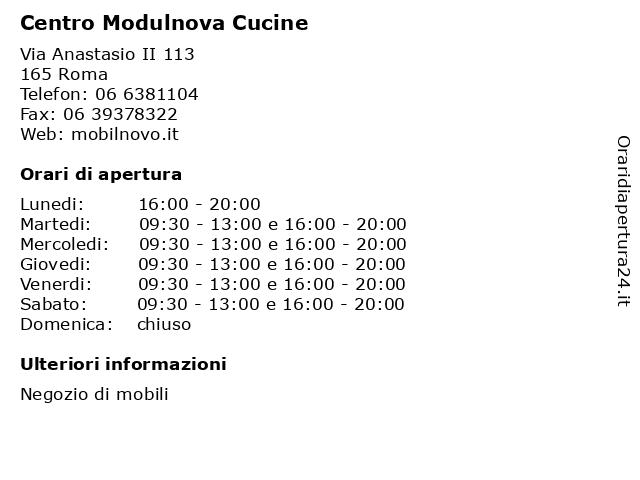 ᐅ Orari Centro Modulnova Cucine Via Anastasio Ii 113 00165 Roma