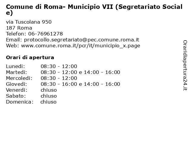 ᐅ Orari Di Apertura Comune Di Roma Municipio Vii Segretariato Sociale Via Tuscolana