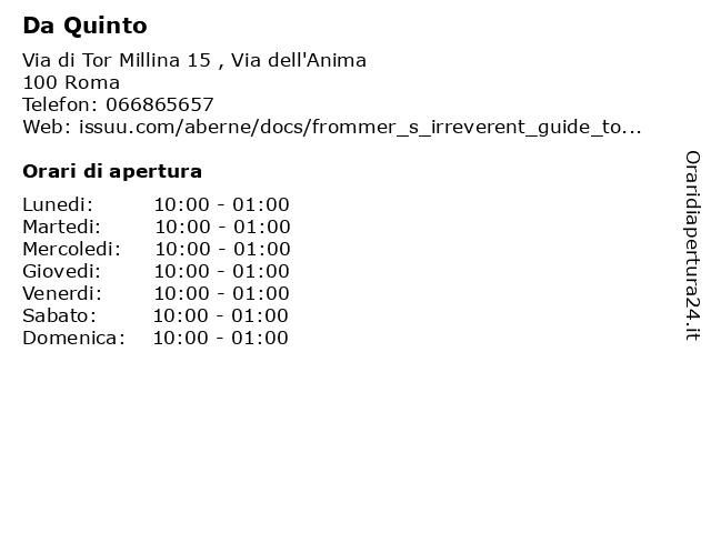 Da Quinto a Roma: indirizzo e orari di apertura