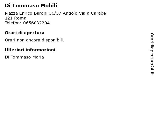 Di Tommaso Mobili a Roma: indirizzo e orari di apertura