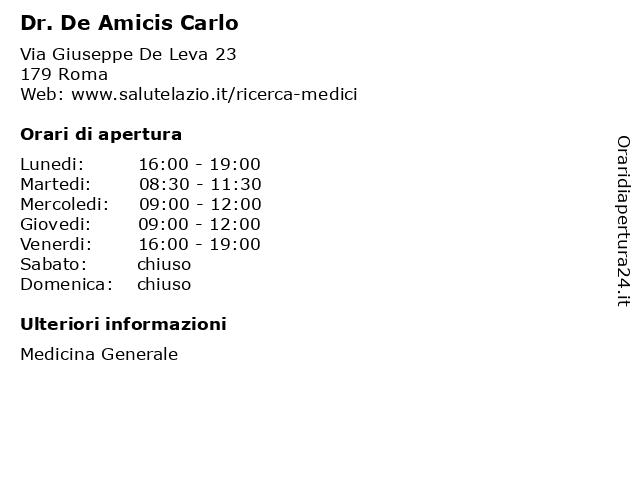 Dr. De Amicis Carlo a Roma: indirizzo e orari di apertura