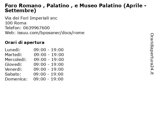 Foro Romano , Palatino , e Museo Palatino (Aprile - Settembre) a Roma: indirizzo e orari di apertura