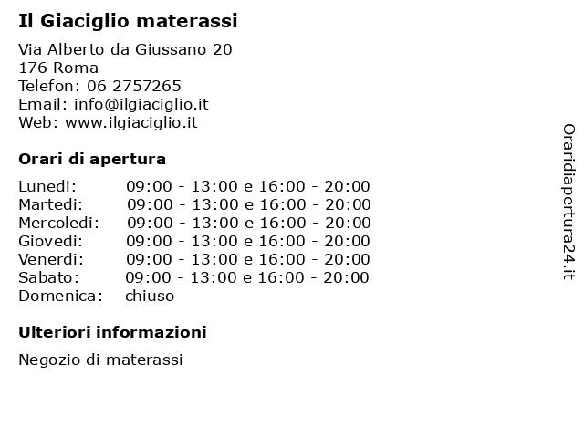 Il Giaciglio Materassi Roma.ᐅ Orari Il Giaciglio Materassi Via Alberto Da Giussano 20