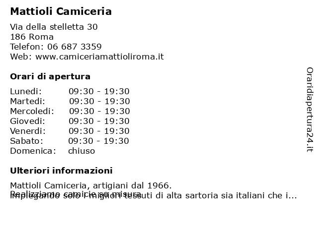 Mattioli Camiceria a Roma: indirizzo e orari di apertura