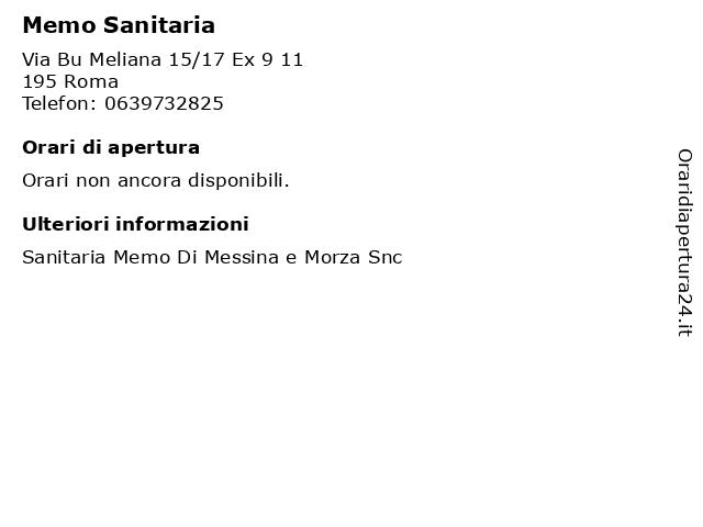 Memo Sanitaria a Roma: indirizzo e orari di apertura