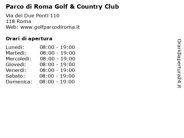 Parco di Roma Golf & Country Club a Roma: indirizzo e orari di apertura