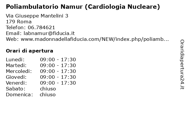 Poliambulatorio Namur (Cardiologia Nucleare) a Roma: indirizzo e orari di apertura