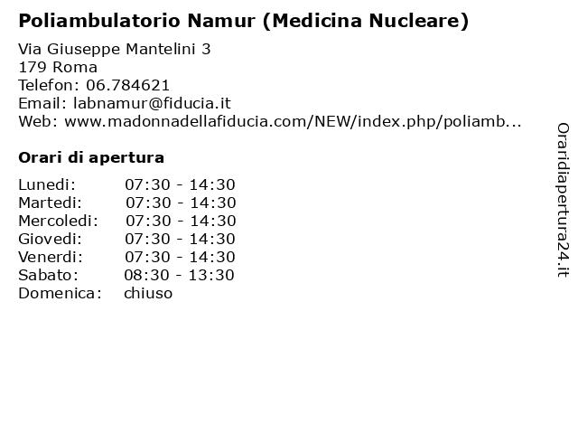 Poliambulatorio Namur (Medicina Nucleare) a Roma: indirizzo e orari di apertura