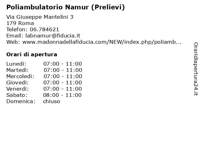 Poliambulatorio Namur (Prelievi) a Roma: indirizzo e orari di apertura