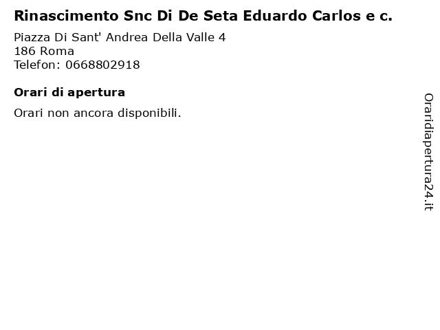 Rinascimento Snc Di De Seta Eduardo Carlos e c. a Roma: indirizzo e orari di apertura