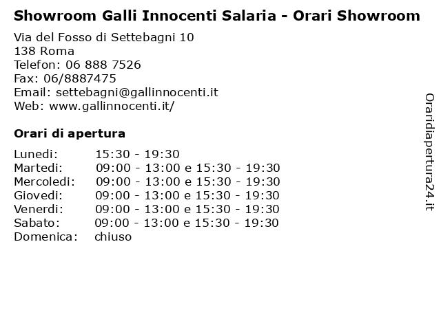 Showroom Galli Innocenti Salaria - Orari Showroom a Roma: indirizzo e orari di apertura