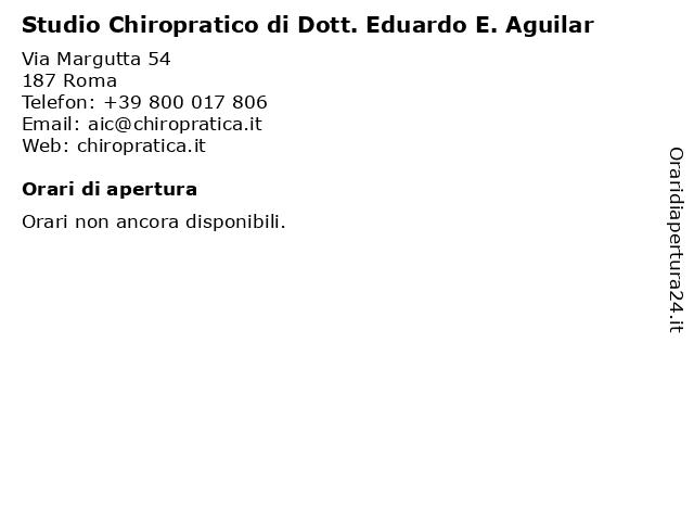 Studio Chiropratico di Dott. Eduardo E. Aguilar a Roma: indirizzo e orari di apertura
