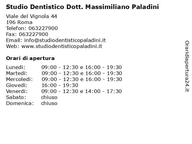 Studio Dentistico Dott. Massimiliano Paladini a Roma: indirizzo e orari di apertura