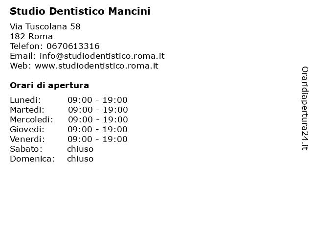 Studio Dentistico Mancini a Roma: indirizzo e orari di apertura