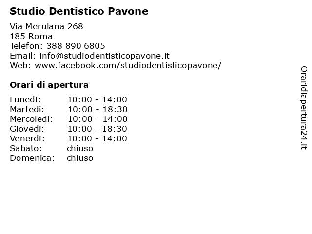 Studio Dentistico Pavone a Roma: indirizzo e orari di apertura