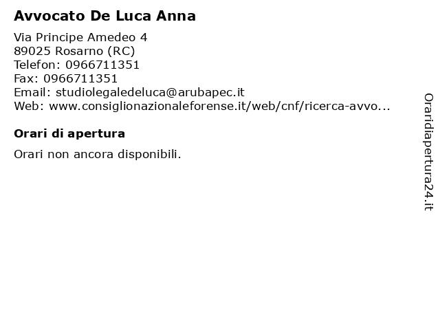 Avvocato De Luca Anna a Rosarno (RC): indirizzo e orari di apertura