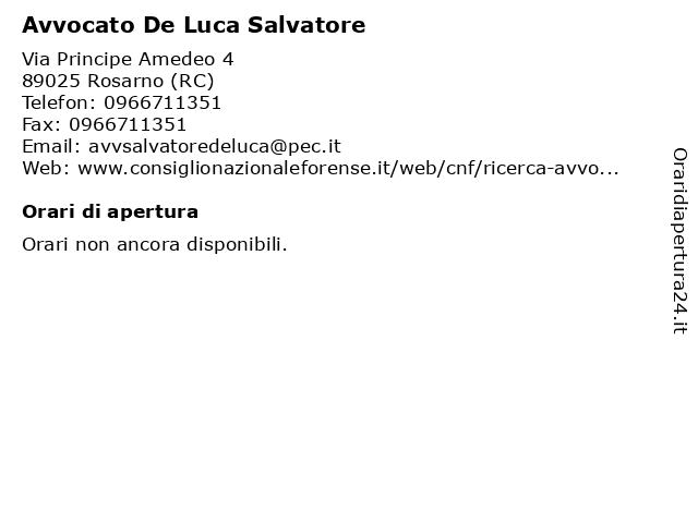 Avvocato De Luca Salvatore a Rosarno (RC): indirizzo e orari di apertura