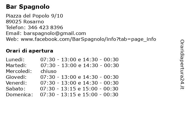 Bar Spagnolo a Rosarno: indirizzo e orari di apertura