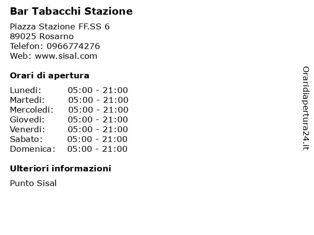Bar Tabacchi Stazione a Rosarno: indirizzo e orari di apertura