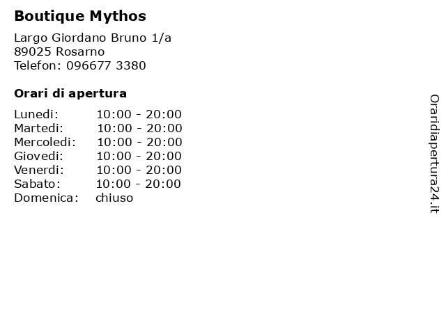 Boutique Mythos a Rosarno: indirizzo e orari di apertura