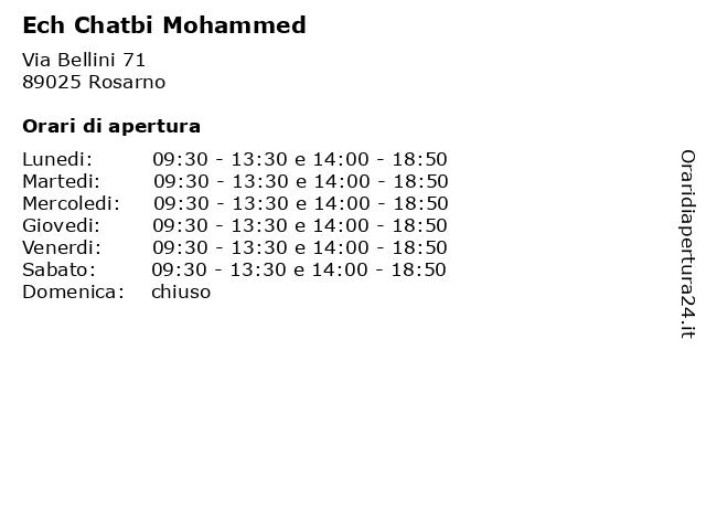 Ech Chatbi Mohammed a Rosarno: indirizzo e orari di apertura