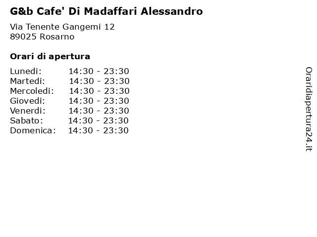 G&b Cafe' Di Madaffari Alessandro a Rosarno: indirizzo e orari di apertura