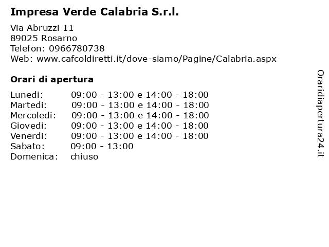 Impresa Verde Calabria S.r.l. a Rosarno: indirizzo e orari di apertura