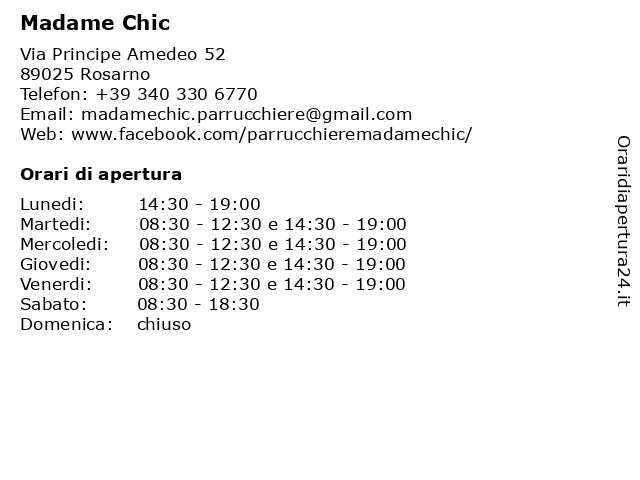 Madame Chic a Rosarno: indirizzo e orari di apertura