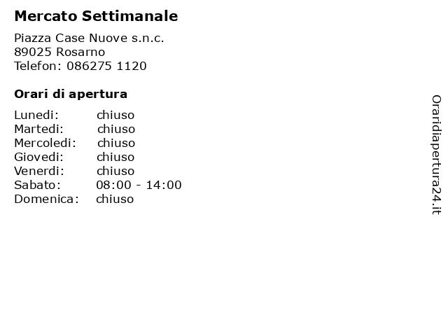 Mercato Settimanale a Rosarno: indirizzo e orari di apertura