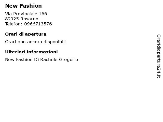 New Fashion a Rosarno: indirizzo e orari di apertura