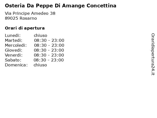 Osteria Da Peppe Di Amange Concettina a Rosarno: indirizzo e orari di apertura