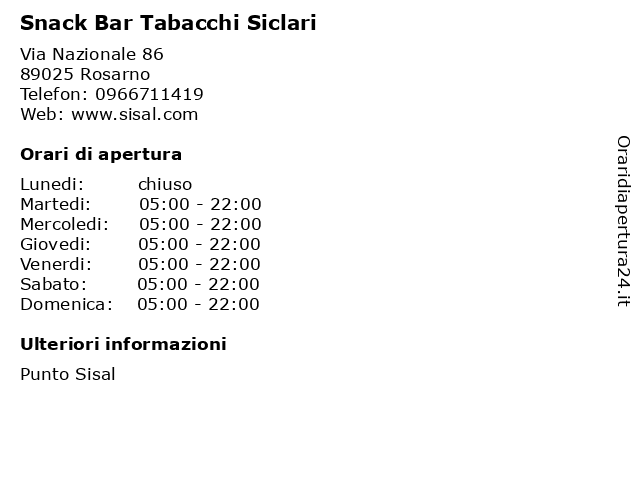 Snack Bar Tabacchi Siclari a Rosarno: indirizzo e orari di apertura