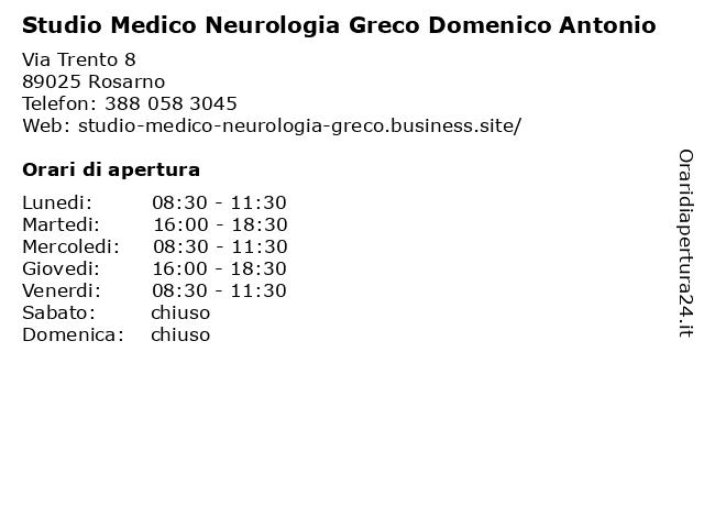 Studio Medico Neurologia Greco Domenico Antonio a Rosarno: indirizzo e orari di apertura