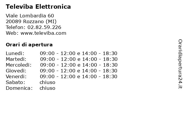 Televiba Elettronica a Rozzano (MI): indirizzo e orari di apertura