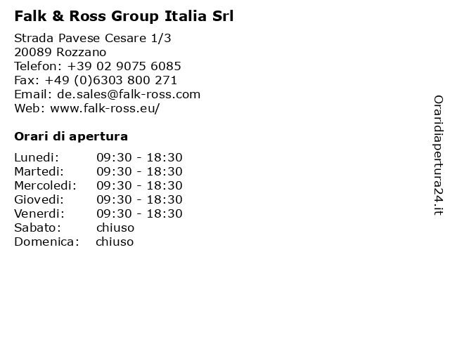 Falk & Ross Group Italia Srl a Rozzano: indirizzo e orari di apertura