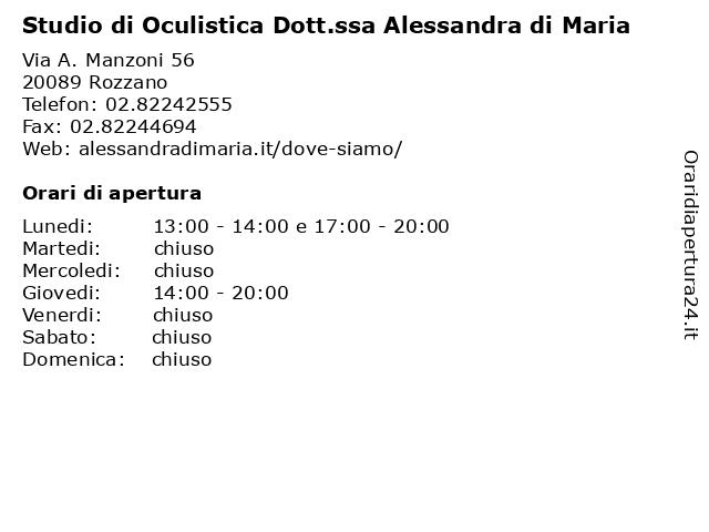 Studio di Oculistica Dott.ssa Alessandra di Maria a Rozzano: indirizzo e orari di apertura